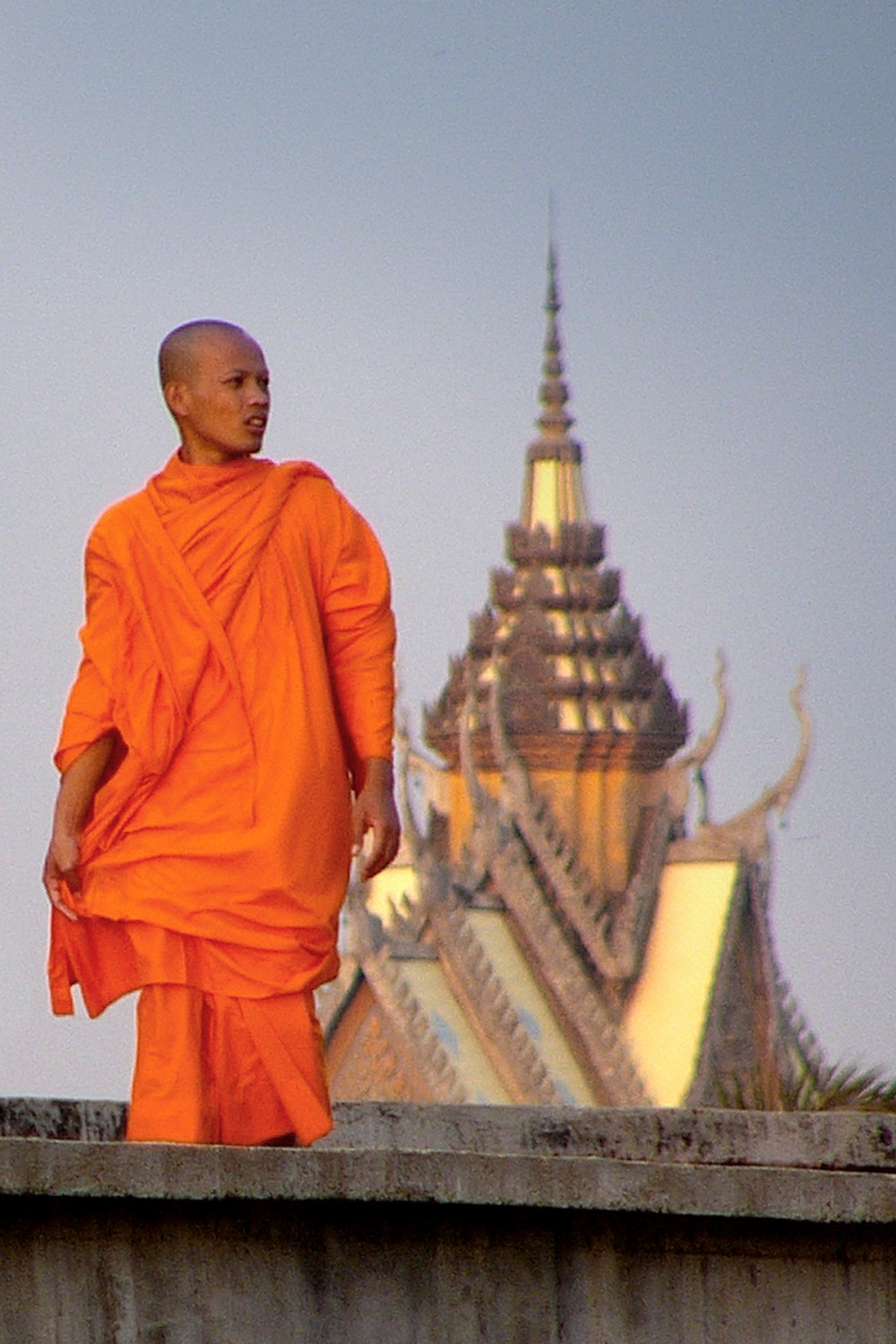 Buddhist Monk Walking in Cambodia