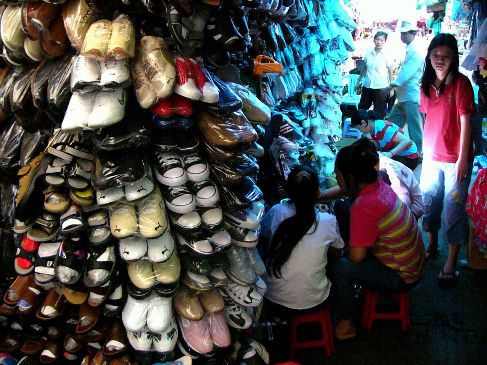 Shoe Seller in Central Market Phnom Penh