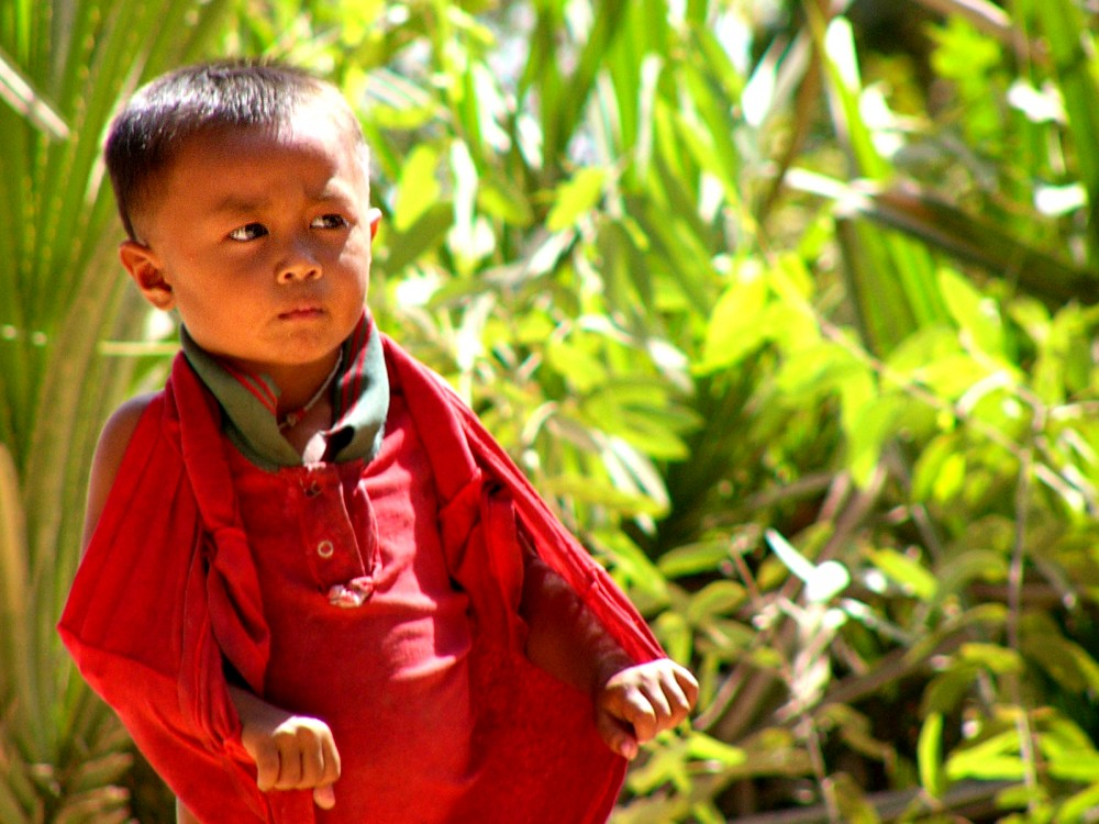 Cambodian boy with red shirt