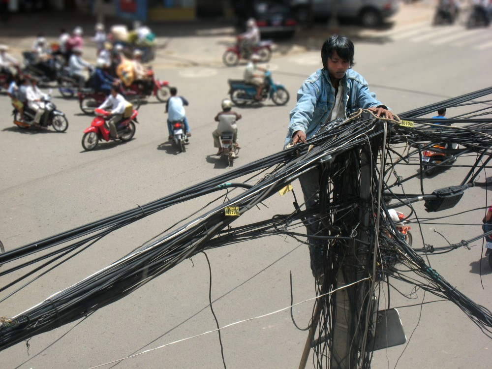 Crazy Electric Wires in Cambodia