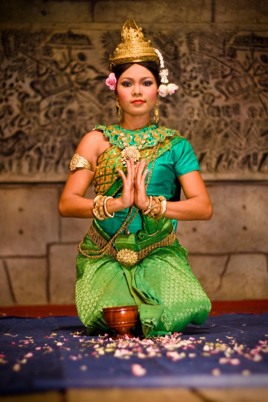 Cambodian Apsara Dancer Kneeling