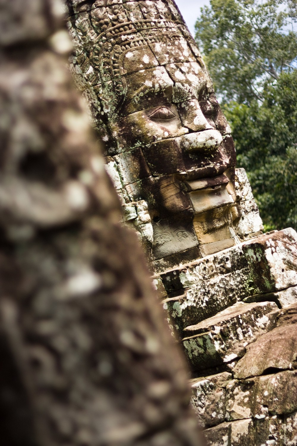 Face at Bayon Temple in Cambodia