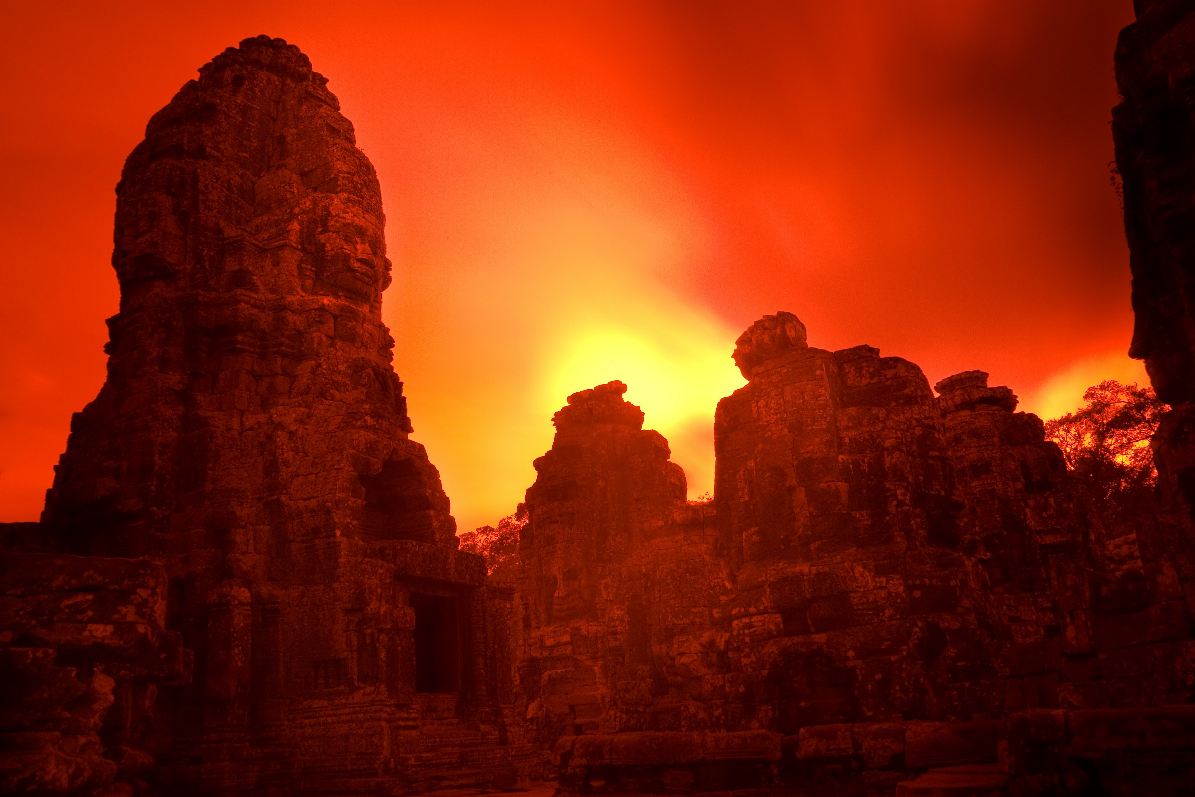 Bayon Temple Sunset Infrared