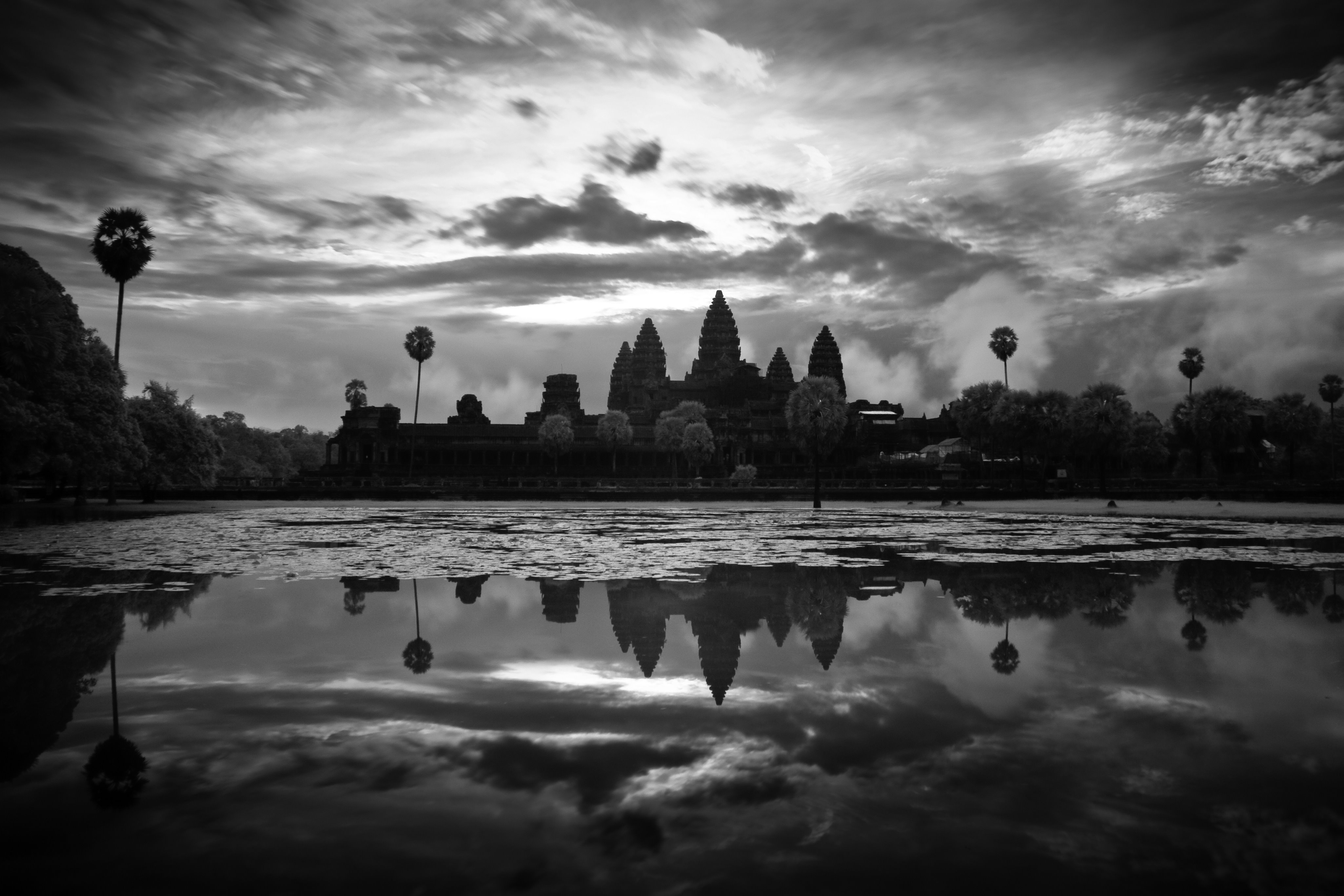 Angkor War at Sunrise in Infrared