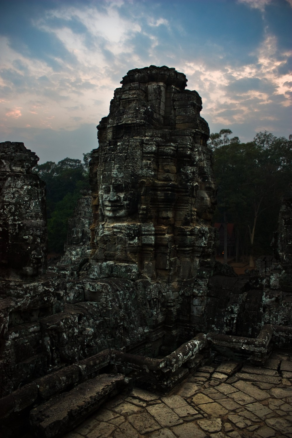 Bayon Temple Face at Sunset