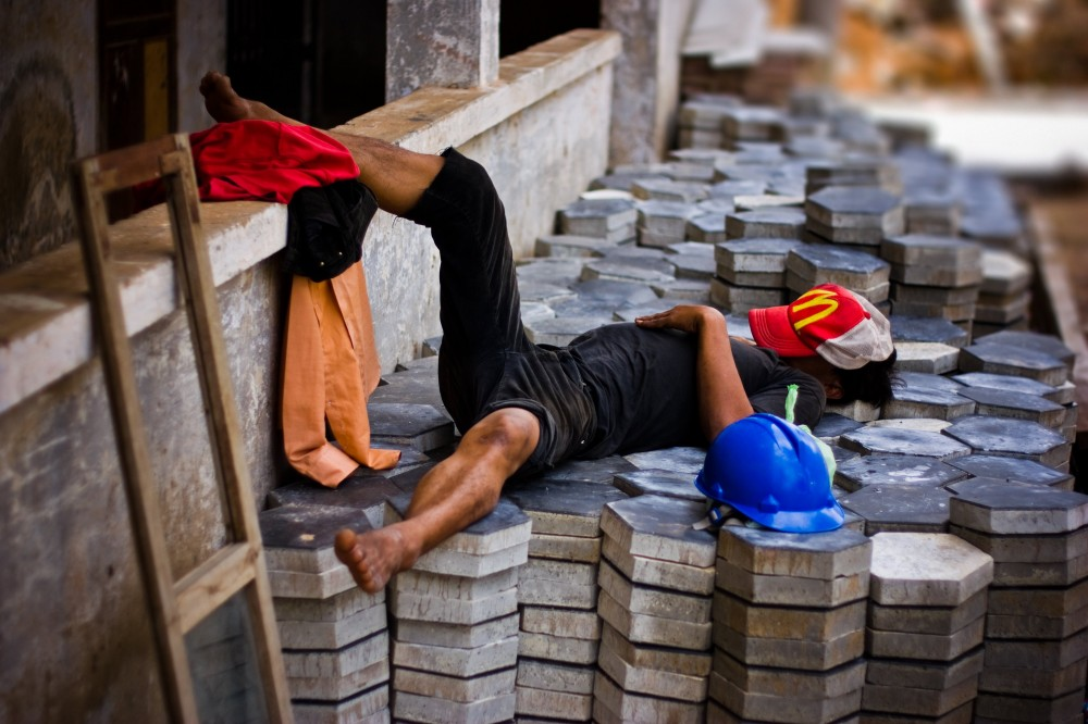 Worker Taking a Break in Cambodia