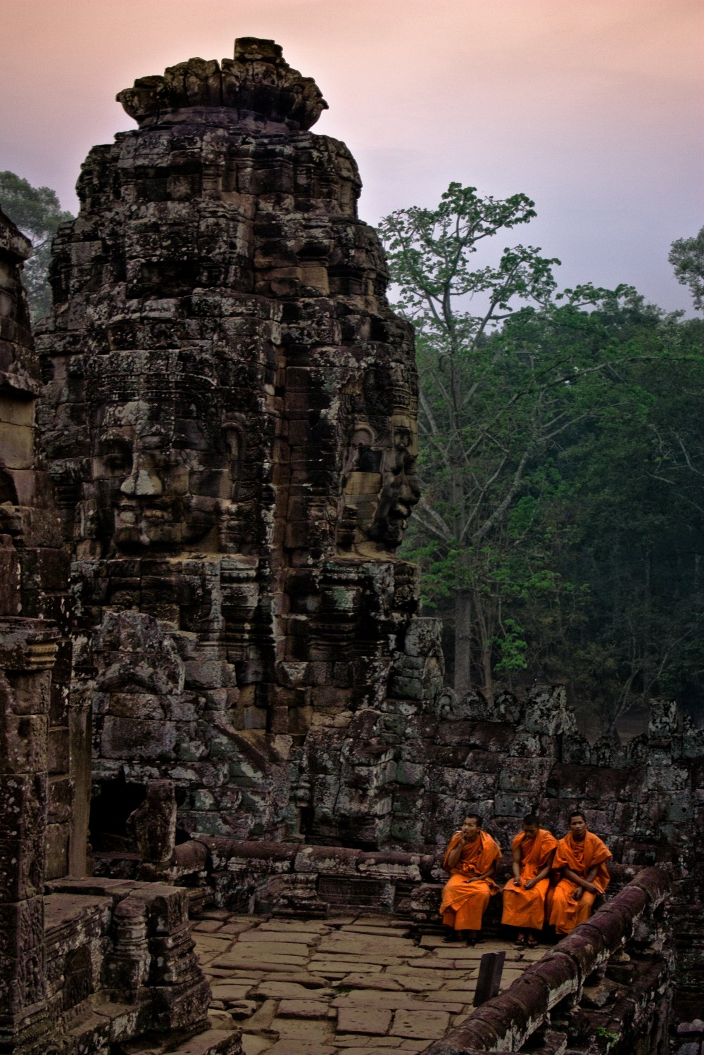 Sitting Cambodian Monks at Bayon Temple
