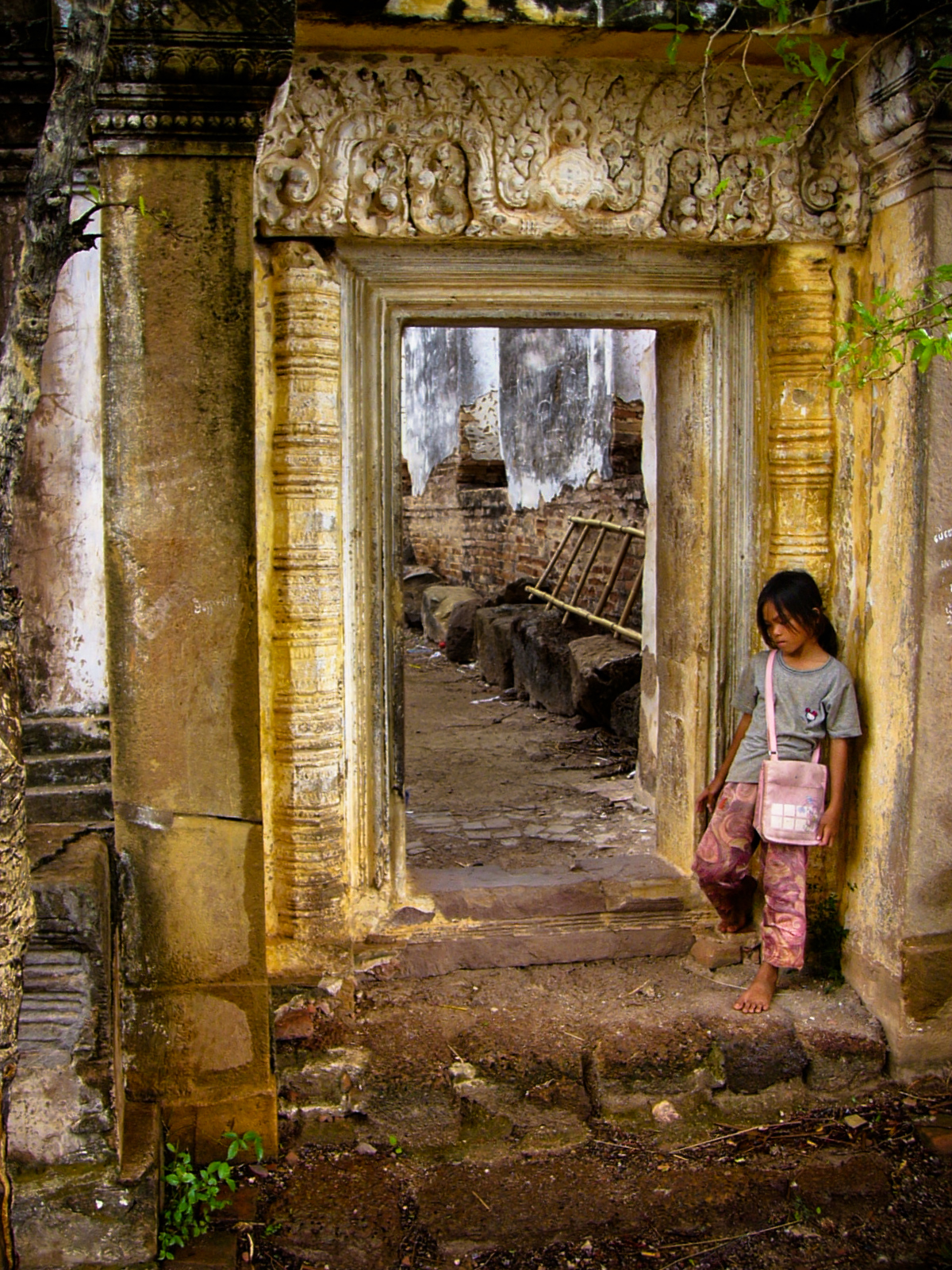 Young Cambodian Girl at Udong Ruins in Cambodia