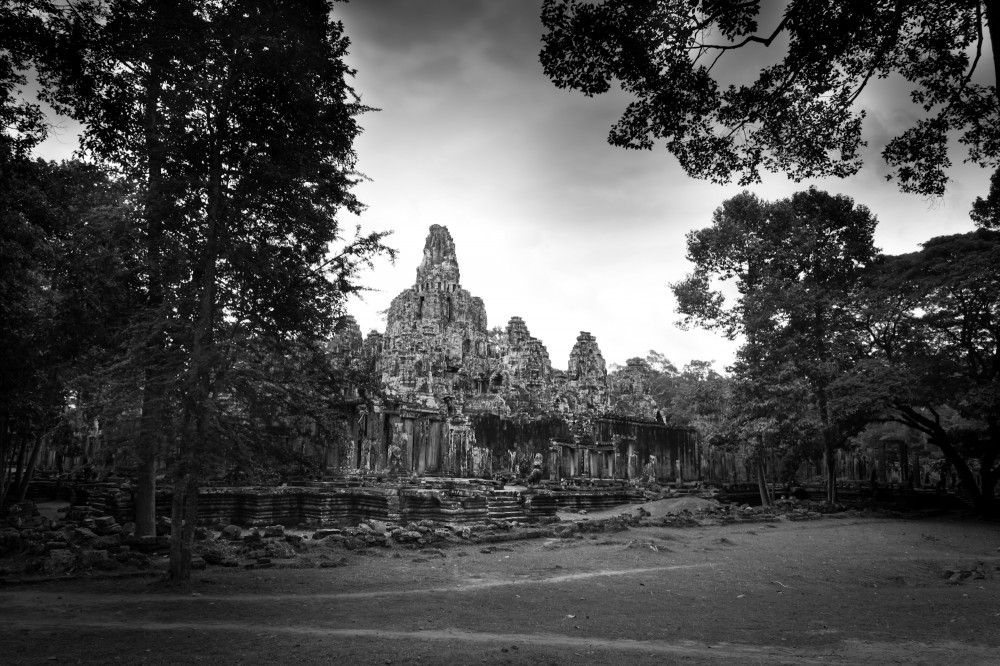 Bayon Temple Cambodia Black and White