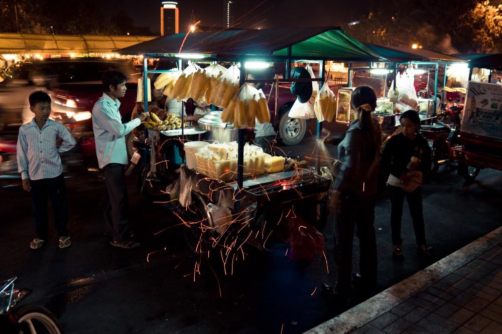 Street Corn Seller Phnom Penh