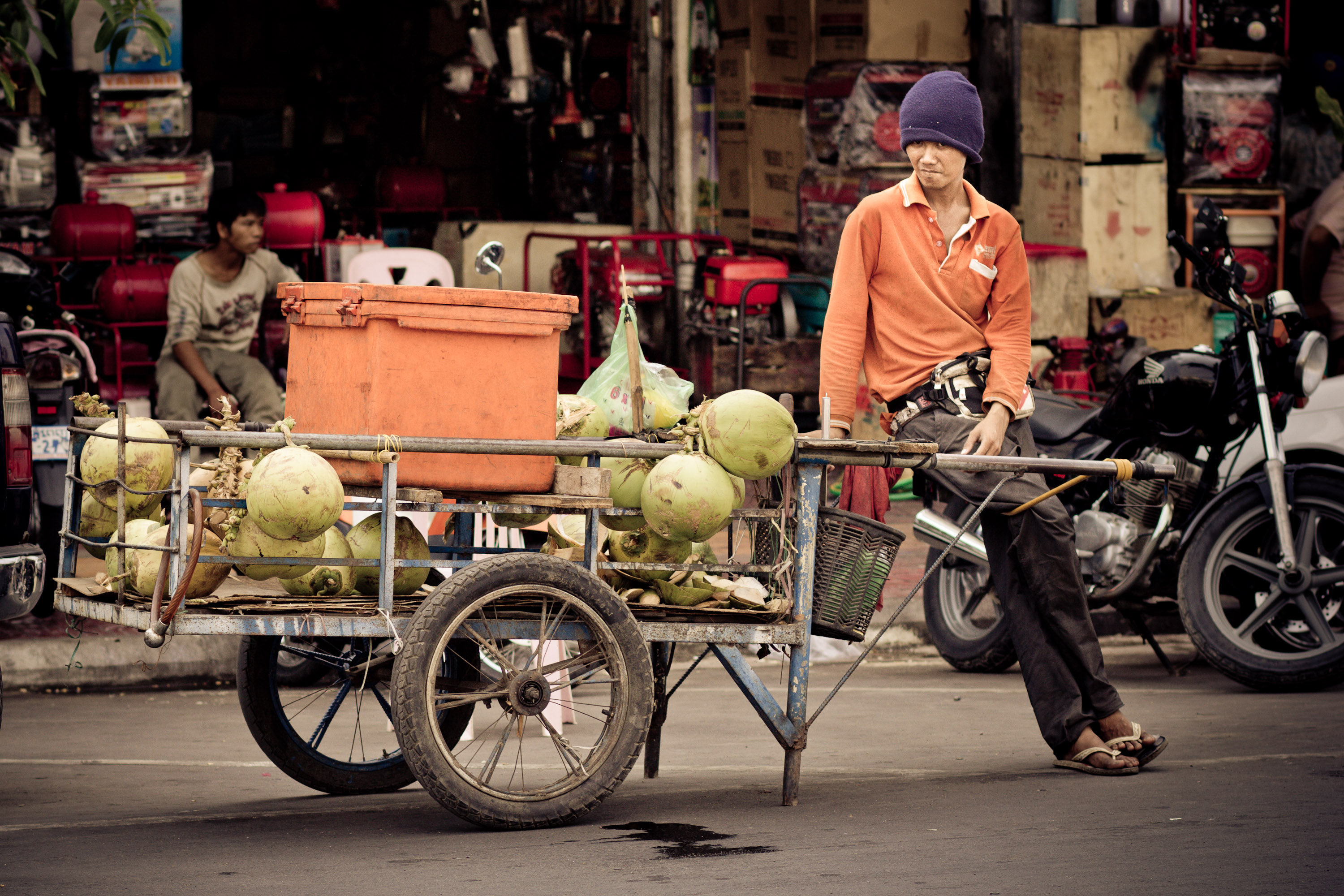 Coconut Seller on the Streets of Phnom Penh