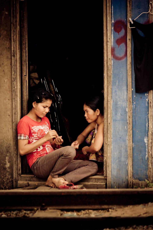 Cambodian Girls in Doorway