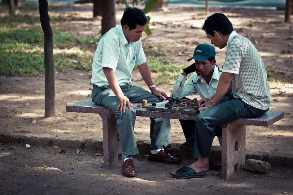 Men Playing Cambodian Chess (Ouk Chatrang)