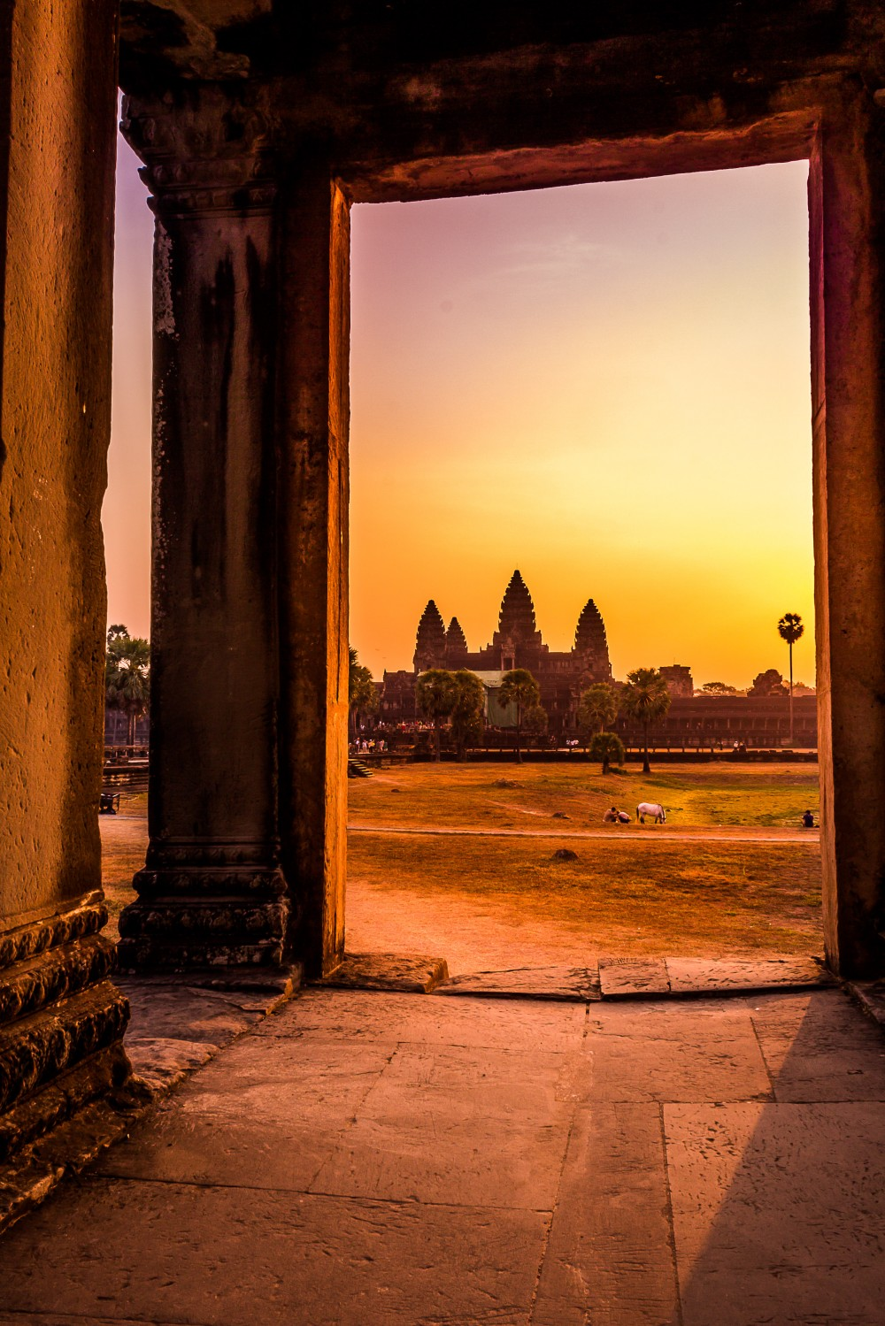Doorway to Angkor Wat at Sunrise